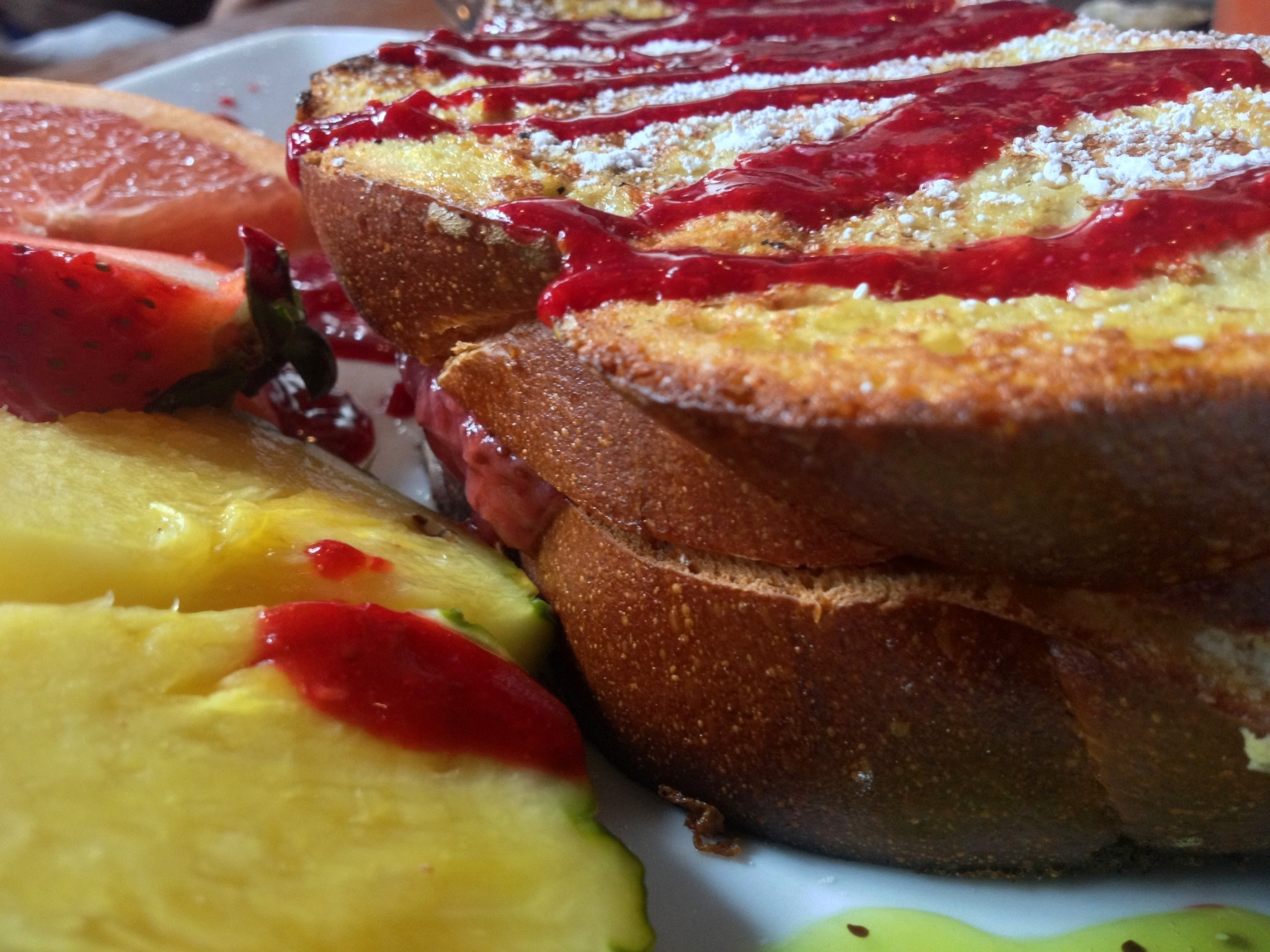 strawberry rhubarb stuffed toast