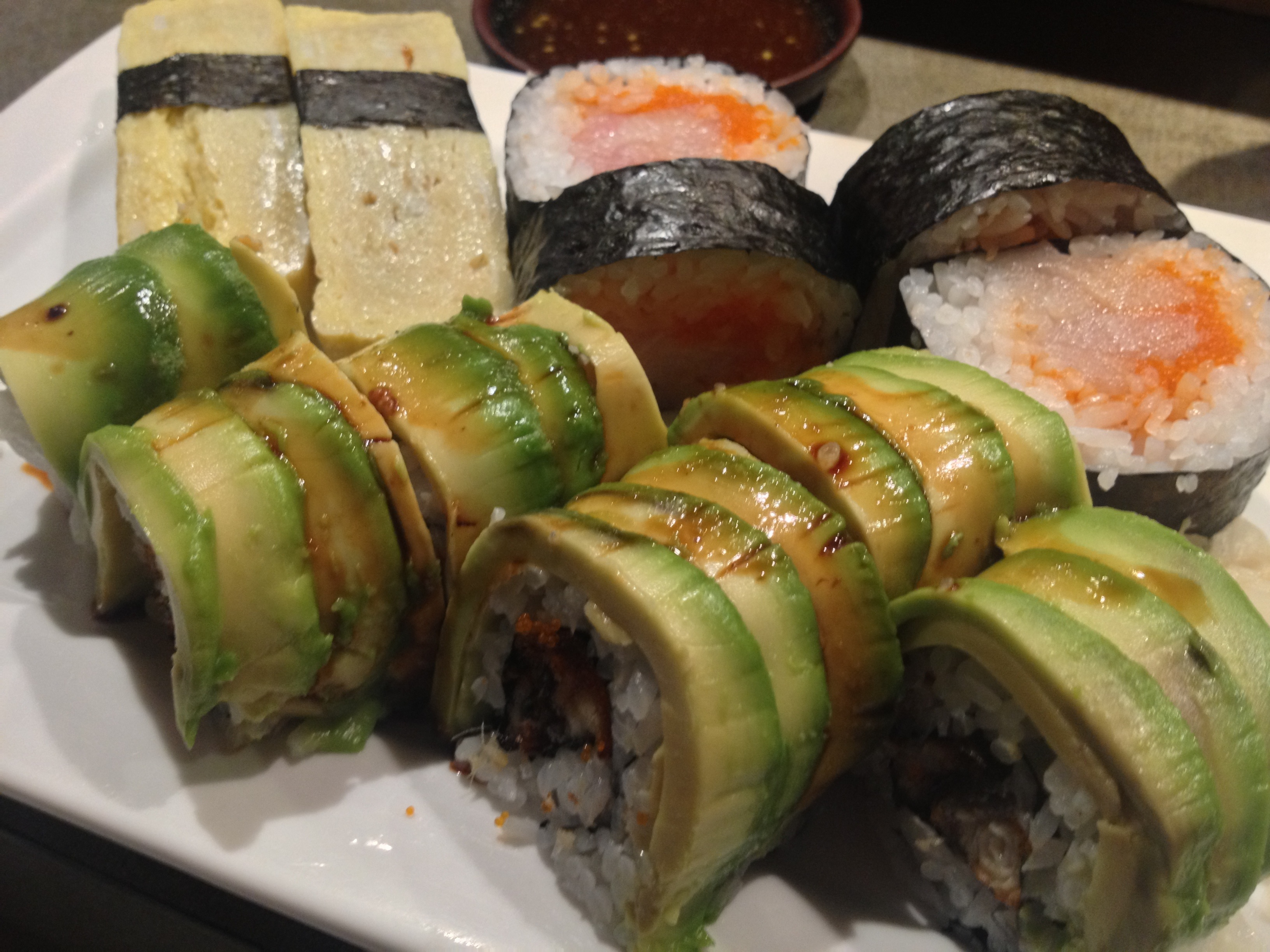 Tamago, Spicy Yellowtail Roll, Caterpillar Roll