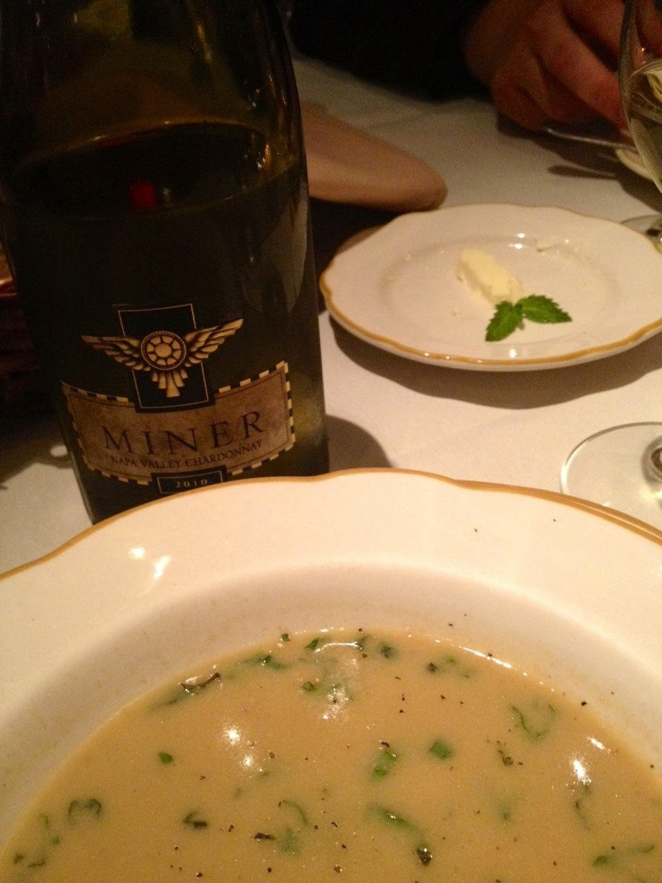 corn soup and Miner Family Chardonnay
