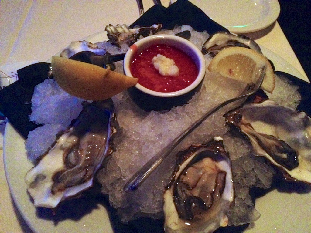 four kinds of oysters on the half shell