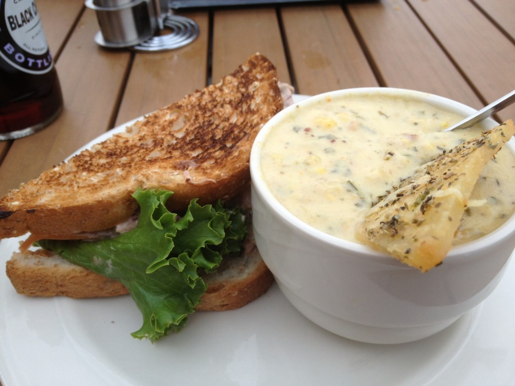 chicken salad with corn chowder